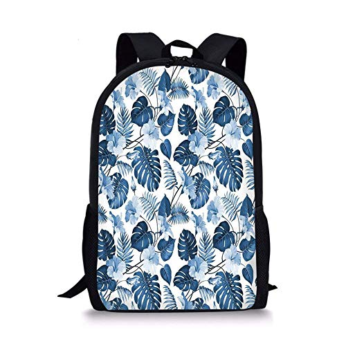 Fashbag Unisex Outdoor Backpack Leaf,Palm and Tree Branch and Hawaiian Hibiscus Flower Image,Light Blue Turquoise and Dark Blue Waterproof Rucksack ()