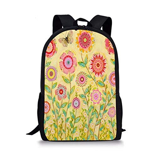 DBGFbackbagYU Folk Art Collage Flower Painting Cute Print School Backpack For Boys Girls School Book - Folk Art Collage