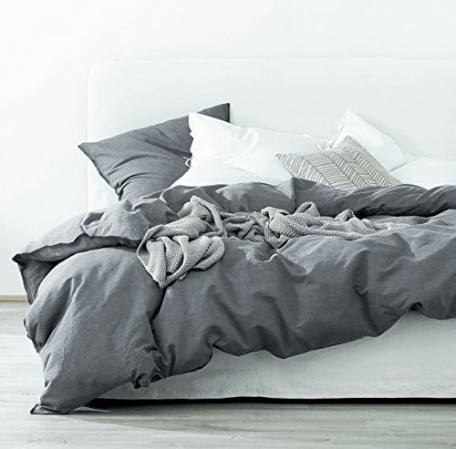 King Duvet Cover Bedding - Eikei Washed Cotton Chambray Duvet Cover Solid Color Casual Modern Style Bedding Set Relaxed Soft Feel Natural Wrinkled Look (King, Charcoal)