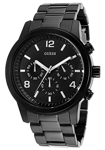 Guess Mens Black Ion Plated - Guess W15522L2 46 Stainless Steel Case Grey Steel Bracelet Mineral Men's Watch