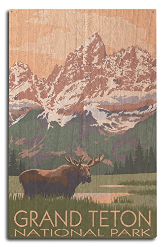 Grand Teton National Park, Wyoming - Moose and Mountains (10x15 Wood Wall Sign, Wall Decor Ready to Hang) - Mountains Grand Teton National Park