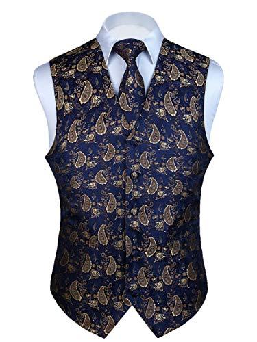 HISDERN Men's Paisley Floral Jacquard Waistcoat & Necktie and Pocket Square Vest Suit Set ()