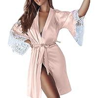 Women Sexy Silk Kimono Dressing Sleepwear Lingerie, Babydoll Lace Belt Bath Robe Nightwear Elegant Satin Gown Robe Silk Kimono Satin Sleepwear Pajama