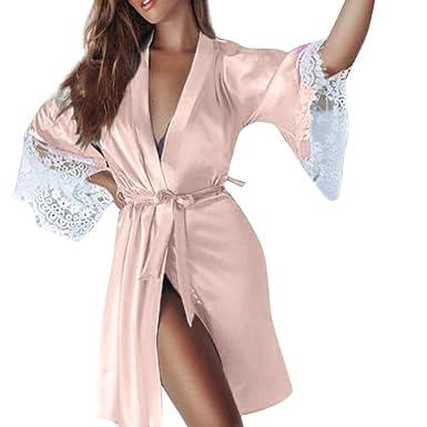Women Sexy Silk Kimono Dressing Sleepwear Lingerie 931a8920e