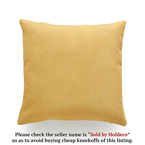 Hofdeco Decorative Throw Pillow Cover HEAVY WEIGHT Cotton Linen Mustard Yellow Geometric Solid 18