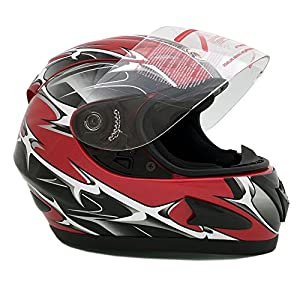 Motorcycle Full Face Helmet DOT Street Legal +2 Visors Comes with Clear Shield and Free Smoked Shield – Spikes RED 118S (XL)