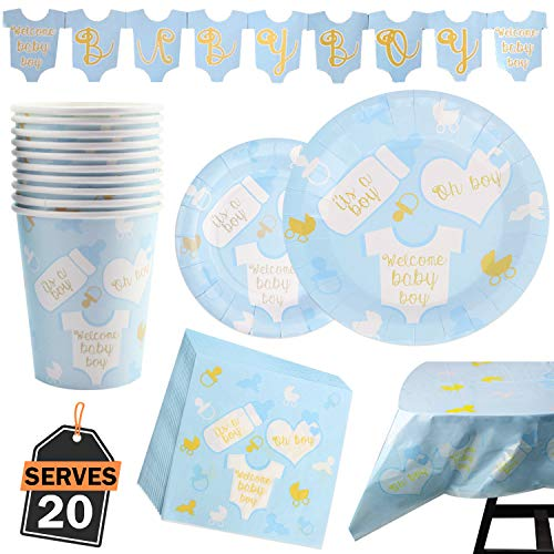 82 Piece Baby Boy Shower Party Supplies Set Including Plates, Cups, Table Napkins, Tablecloth and Banner, Serves
