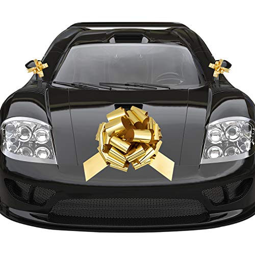 """Whaline Golden Big Car Pull Bow with 2 Small Gift Bows for Wedding Car, Christmas Large Gift Decoration, Prom, Surprise Party, Boxing Day, New Houses Decor (16"""")"""