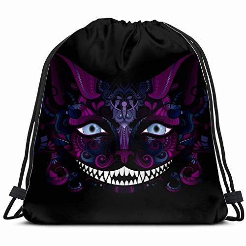 cheshire cat grin isolated fictional animals wildlife Special Backpack Sack Bag Gym Bag For Men & Women 17X14 Inch -