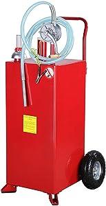 TRIL GEAR 30 Gallon Gas Caddy Oil Transfer Hand Pump Gasoline Diesel Storage Tank for Car Boat ATV Red