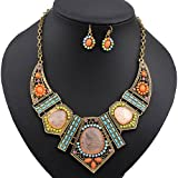 Polytree Women's Boho Colorful Hollow Statement Chain Choker Necklace Hook Earrings Set