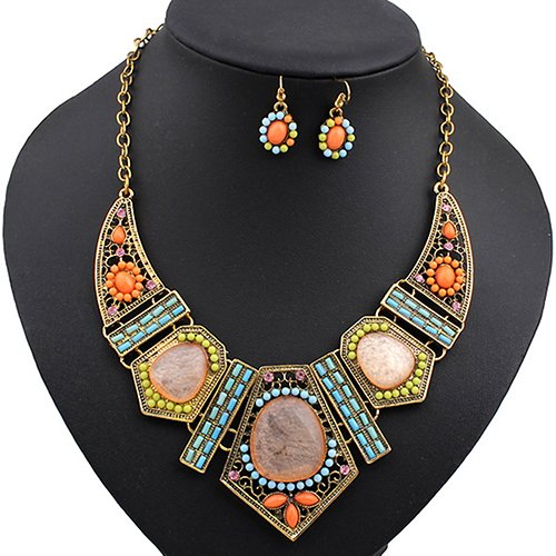 Polytree Women's Boho Colorful Hollow Statement Chain Choker Necklace Hook Earrings (Hook Earrings Set)