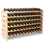 6 bottle stackable wine rack - Mecor Wine Rack Freestanding Floor Wooden Stackable Storage Shelf (6 Tier(72 Bottles))