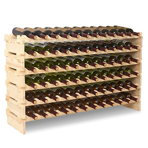 Mecor Wine Rack Freestanding Floor Wooden Stackable Storage Shelf (6 Tier( 72 (Stackable Wood Wine Racks)