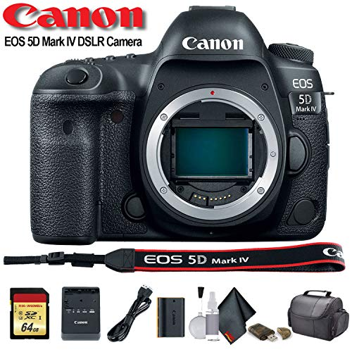 (Canon EOS 5D Mark IV DSLR Camera (International Model) (1483C002) with 64GB Memory Card, Case, Cleaning Set and More - Starter Bundle)