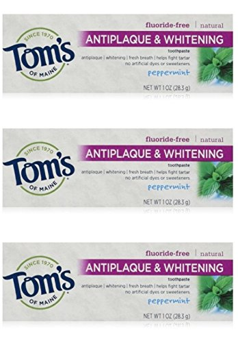 Tom's of Maine Natural Antiplaque Tartar Control & Whitening Toothpaste Peppermint 1 oz Travel Size (Pack of 3) ()