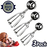 Best Cookie Scoops - Cookie Scoop Set 3 PCS Stainless Steel Ice Review