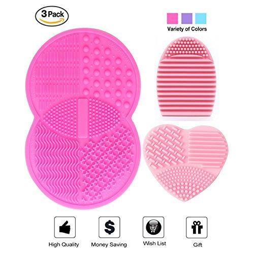 The Mini Brush Set (Makeup Brush Cleaning Mat, Esarora Makeup Brush Cleaner Set of 3 Mini Cosmetic Brush Cleaner Mat Portable Washing Tools (Pink))