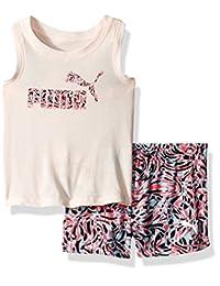 PUMA Baby Toddler Girls' 2 Piece Tee & Mesh Shorts Set