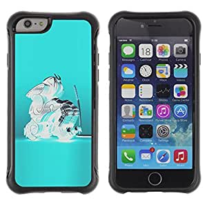 Be-Star Unique Pattern Anti-Skid Hybrid Impact Shockproof Case Cover For Apple iPhone 6 Plus(5.5 inches)( Blue Crystal Glass Teal Abstract Samurai ) Kimberly Kurzendoerfer