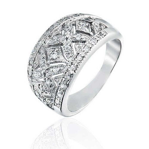 Sterling Silver Vintage Pave (Bling Jewelry Pave CZ Vintage Style Hugs and Kisses Band Sterling Silver Ring)