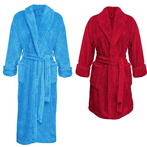 Ein Set bestehend aus 2 Bademänteln ist ein ideales Geschenk, für den gemeinsamen Wohlfühlfaktor in kalten Nächten. (XS-2XL) (S, blau/himbeere)