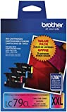 Brother Printer LC793PKS 3 Pack- 1 Each LC79C, LC79M, LC79Y Ink - Retail Packaging