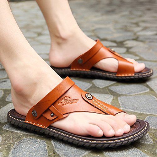 Ohchsh Slip For Mens Ring Shoes Flops Men On Beach Toe Leather Style Red Brown Slippers Sandals Flip rrxRn