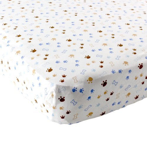 Discover Bargain Luvable Friends Puppy Fitted Crib Sheet, Blue/Brown