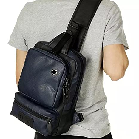 AOLIDA Men Sling Bag Leather Unbalance Chest Shoulder Bags Casual Crossbody  Bag Travel Hiking Daypacks 62c4cb35c2a66