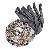 108 Mala Bead Necklace - 8mm Pink Zebra Jasper Labradorite Lavender Jade Stones - Amethyst Guru Bead - Sari Silk Tassel - Meditation, Mindfulness, Yoga - Mala to Reduce Stress and Anxiety