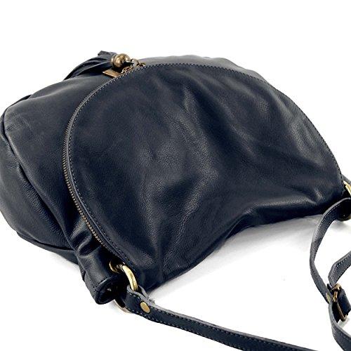 OLGA Borsa a tracolla mezzaluna con due scomparti zip pelle morbida blu