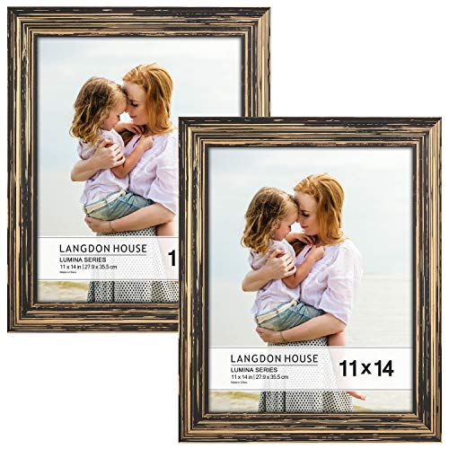 Langdon House 11x14 Real Wood Picture Frames (2 Pack, Barnwood Brown - Gold Accents), Brown Wooden Photo Frame 11 x 14, Wall Mount or Table Top, Set of 2 Lumina Collection (Table Wooden Reclaimed Tops)