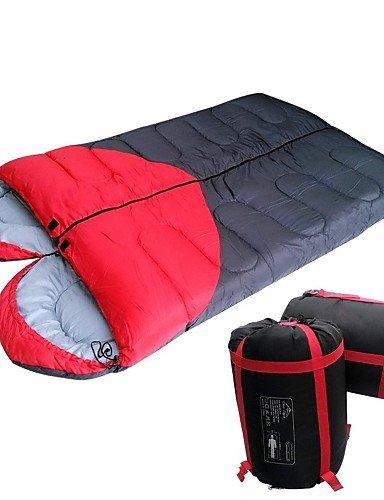 ZRD Camping saco de dormir suave y transpirable molesto para mantener caliente para al aire libre Camping, rojo y negro: Amazon.es: Deportes y aire libre