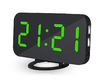 Deerbird® Digital Despertador Superficie del Espejo Enormes Numeros LED Reloj Despertador con 2 Puertos USB Brillo Ajustable Relojes Botón de Snooze para ...
