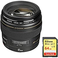 Canon EF 85mm f/1.8 USM Medium Telephoto Lens for Canon SLR Cameras (2519A003) w/ Sandisk 64GB Extreme SD Memory UHS-I Card w/ 90/60MB/s Read/Write