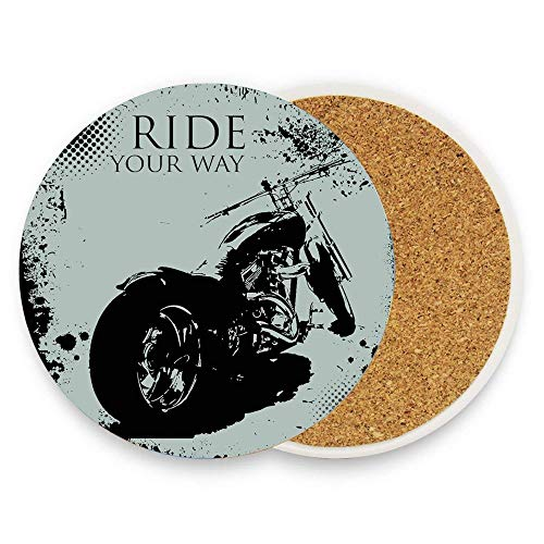 MichelleSmithred Retro Motorcycle with Black Dots and Splatters Chopper Road Trip Artwork Ceramic Coaster Absorbent Stone Coaster for Coffee Mug Glass Cup Mat 1 Piece