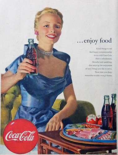t ad. Full Page Color Illustration. (woman,blue dress) original 1952 Life Magazine Art (Coca Cola Magazine)