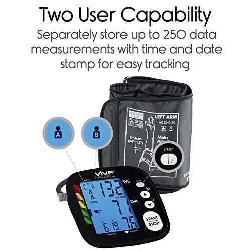 Vive Precision Pressure Machine - Heart Monitor - Sphygmomanometer Hypertension Diagnosis, Accurate Readings With Arm