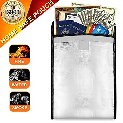 Sungwoo Fireproof Bag Fireproof Waterproof Pouch for Document Cash Money Passport Bank File and Valuables - Two Sided Aluminum Foil Coated (13'' x 10'')