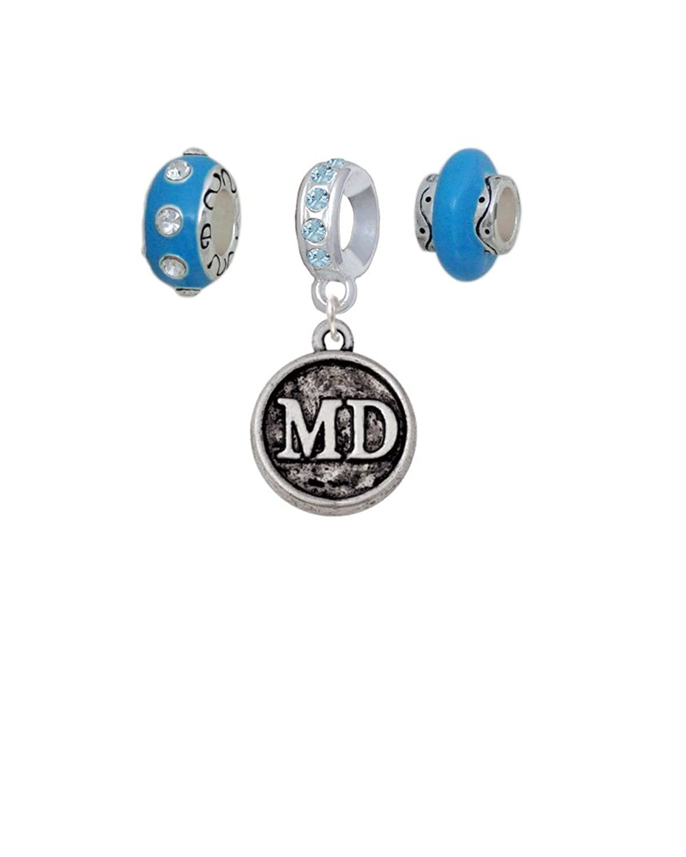 Doctor Caduceus Seal - Hot Blue Charm Beads (Set of 3)