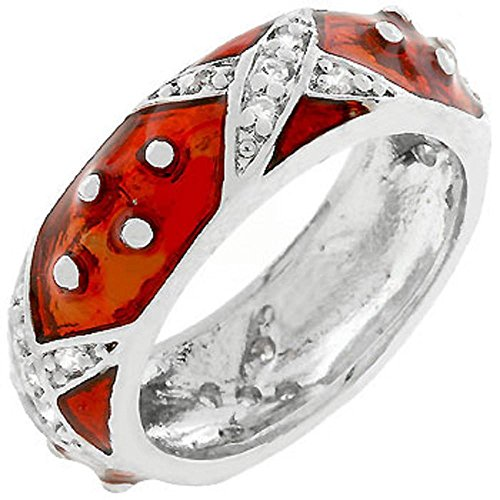 (FB Jewels Solid Marbled Ruby Red Enamel Ring)