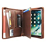 Buiness Card Holder Padfolio-Interview/Office Document Organizer Advanced Leather Portfolio Folder with Special iPad Stand for iPad Air/iPad Pro/Micro Surface pro/samsung (ipad pro 10.5, brown)