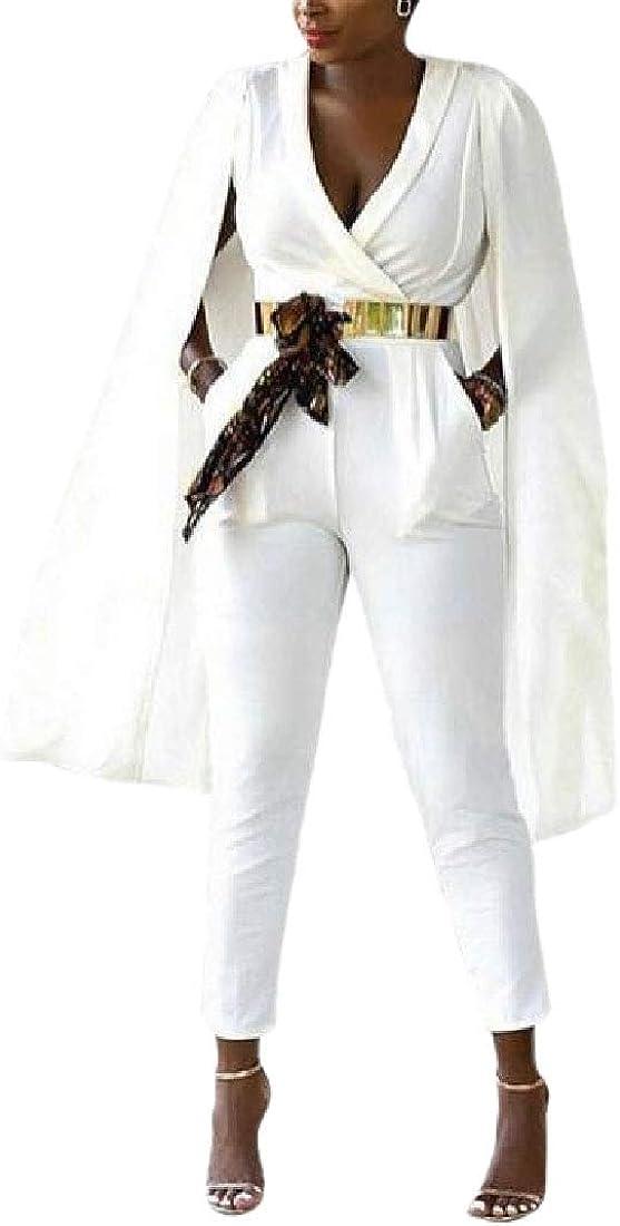 WSPLYSPJY Women Shawl Long Slit Sleeve Wrap Front Deep V Neck One Piece Long Jumpsuit