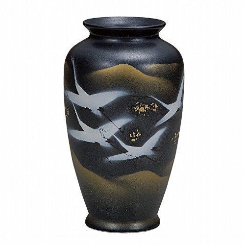 Jpanese traditional ceramic Kutani ware. Ikebana flower vase. Cranes. With paper box. ktn-K5-1259
