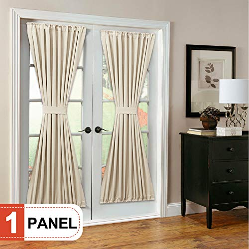 Rose Home Fashion RHF Blackout French Door Curtains - Thermal Insulated Door Panel 54W by 72L Inches-Beige