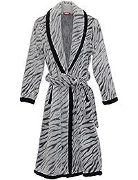 Hot Style Mens Thick Warm Long-sleeved Zebra Print Robe Bathrobe