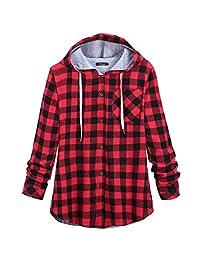 Shinekoo Women Autumn Stylish Jacket Casual Plaid Coat Outwear Hooded Blouse