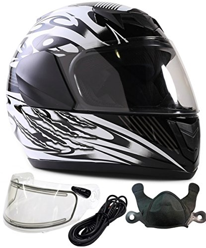 Electric Shield Full Face Helmets - Typhoon Helmets Youth Kids Full Face DOT Snowmobile Helmet with Electric Shield Boys Girls - Black (Large)