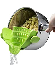 Kitchen Gizmo Snap 'N Strain Strainer, Clip On Silicone Colander, Fits all Pots and Bowls - Lime Green